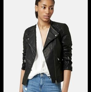 FIRM Topshop  Charlie Quilted Moto Leather Jacket
